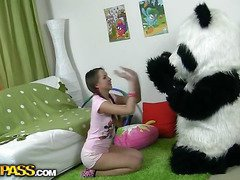 In this unusual sex clip u'll watch a beautiful teenage hotty playing with toy. But it's not just a toy, it's a large panda bear, and this guy's so fun to play with! This Chab can do anything the angel wants, but this playgirl should strip stripped in return. But imagine the angel's surprise when that playgirl saw panda's huge strap on! This Babe had not at any time thought of him as sex partner previous to, but since this chab's so well-equipped and horny, why not go for a nasty sex play with him? So the panda bear banged the breasty teenage in all possible poses ...