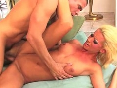 Constricted golden-haired slammed with penis